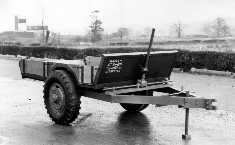 JCB's first product, a tipping trailer